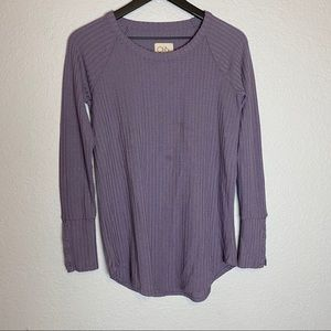 Chaser pullover sweater purple small button sleeve